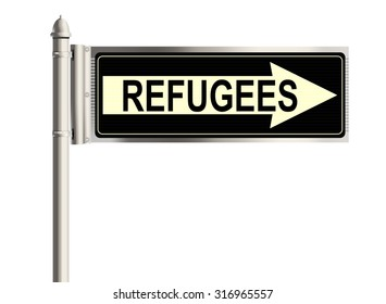 Refugees. Road sign on the white background. Raster illustration.