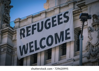 Refugees welcome banner in Madrid, Spain