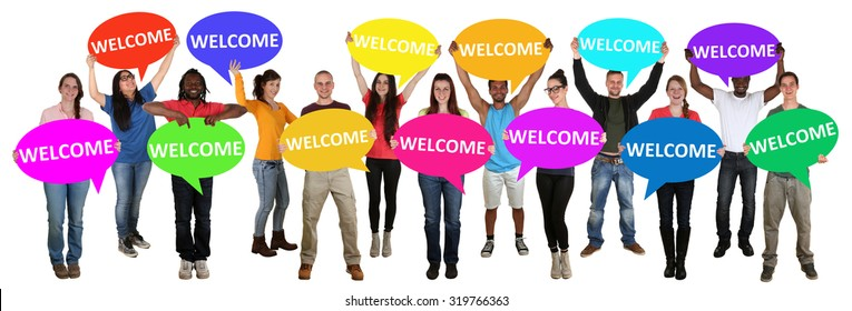 Refugees welcome group of young multi ethnic people holding speech bubbles isolated
