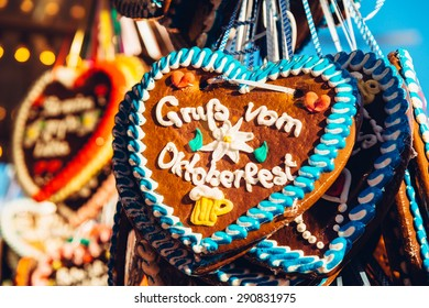 regards from the Oktoberfest - original bavarian Oktoberfest gingerbread heart from Germany