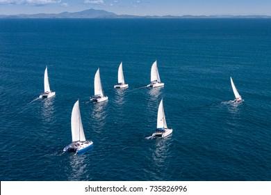 Regatta sailboat and catamaran in Mozambique Channel