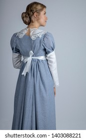 Regency woman in blue dress