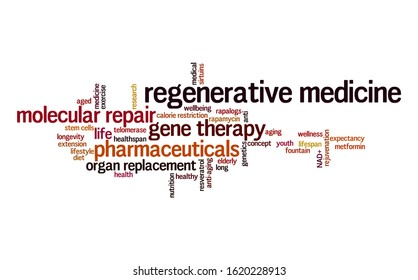 Regenerative medicine word cloud. Typography.