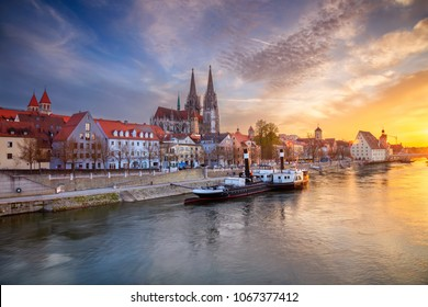 Regensburg. Cityscape image of Regensburg, Germany during spring sunset.