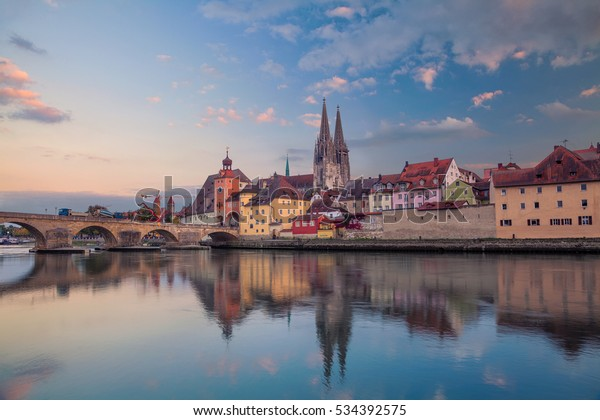 Regensburg. Cityscape image of Regensburg, Germany during sunset.