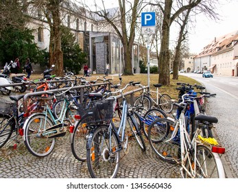 Regensburg, Germany:  bicycles used in a two-wheeled car park.