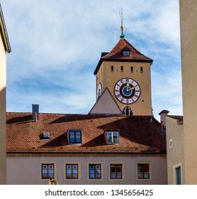 Regensburg, Germany:  facades and palaces and alleys of the historic city.
