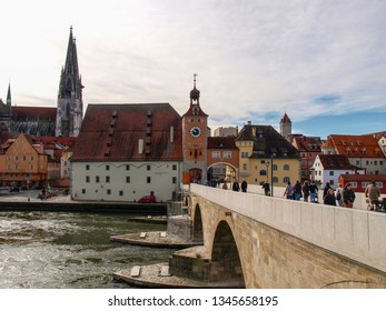 Regensburg, Germany:  Historic houses, palaces, and churches on the bank of the Danube.