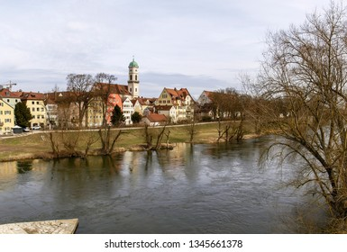 Regensburg, Germany:  Historic houses, palaces, and churches on the Danube bank.
