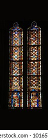 REGENSBURG, GERMANY - SEP 9, 2016 - Stained glass in the cathedral of  Regensburg, Germany