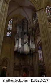 REGENSBURG, GERMANY - SEP 9, 2016 - Huge pipe organ in the cathedral of  Regensburg, Germany