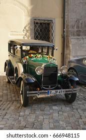 REGENSBURG, GERMANY - SEP 9, 2016 - Vintage touring car in Regensburg, Germany