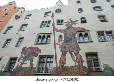 """REGENSBURG/GERMANY - OCTOBER 2, 2017: Painting of David and Goliath on the 13th century home of a wealthy patrician, the largest """"city castle"""" in the inner city"""