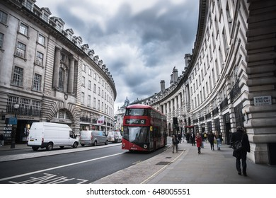 Regent Street, London, England - February 2.2017 - View of buildings, people, and traffic in daytime
