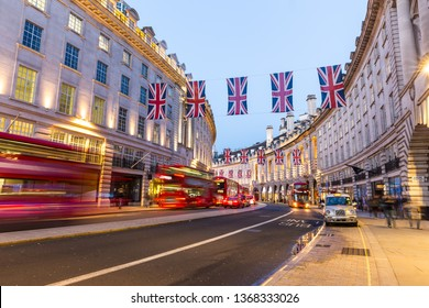 Regent Street in London at night