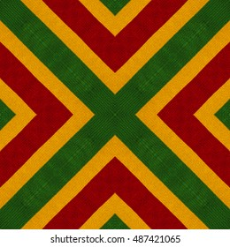 Reggae colors flag crochet knitted style background, top view. Collage with mirror reflection. Seamless kaleidoscope montage for cushion, blanket, pillow, plaid, t-shirt graphics, cloth, poster