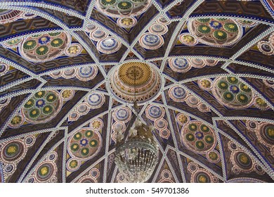 REGGELLO, ITALY - MAY 2 2015: Close up detail of the ceiling of the Octagon Room in Sammezzano Castle in Italy