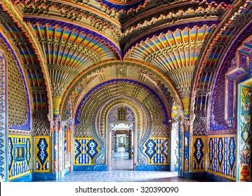 REGGELLO, ITALY - SEP 20: The colorful peacock room in Sammezzano Castle on SEP 20, 2015 in Reggello, Tuscany, Italy.
