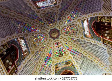REGGELLO, ITALY - SEP 20: Colorful vault in Sammezzano Castle on SEP 20, 2015 in Reggello, Tuscany, Italy.
