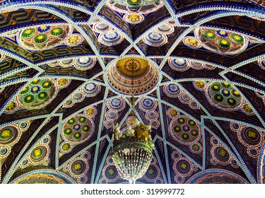 REGGELLO, ITALY - SEP 20: The polychrome marble ceiling of Sammezzano Castle on SEP 20, 2015 in Reggello, Tuscany, Italy.