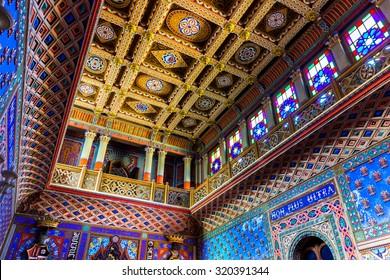 REGGELLO, ITALY - SEP 20: The polychrome panelled ceiling of Sammezzano Castle on SEP 20, 2015 in Reggello, Tuscany, Italy.