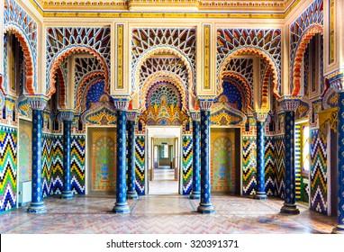 REGGELLO, ITALY - SEP 20: Room with columns and stucco decorations in Sammezzano Castle on SEP 20, 2015 in Reggello, Tuscany, Italy.