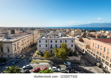 Reggio Calabria, Italy - October 30, 2017: Aerial view over the city of Reggio di Calabria and Strait of Messina between Reggio di Calabria and Sicily from Aragonese Castle in Reggio Calabria, Italy.