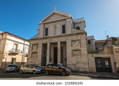 Reggio Calabria, Italy - October 30, 2017: The Holy Rosary is Christian Roman Catholic Church in the historic center of Reggio Calabria, located in Via Aschenez, region of Calabria, Italy.