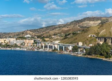 Reggio Calabria, Italy - October 30, 2017: Transport infrastructure on the coast of Reggio di Calabria - South Italy. Reggio di Calabria is a city in Calabria on the toe of Italy.