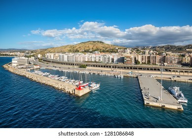 Reggio Calabria, Italy - October 30, 2017: View of Reggio di Calabria. Reggio di Calabria is a city in Calabria on the toe of Italy. It's a ferry port for the short crossing to Messina.