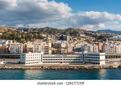 Reggio Calabria, Italy - October 30, 2017: The Coast Guard building (Guardia costiera) on shore of Reggio di Calabria - South Italy. Reggio di Calabria is a city in Calabria on the toe of Italy.