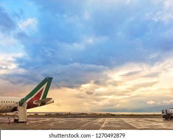 Reggio Calabria, Italy/Italy - December 30 2018:Airport of Reggio Calabria city,  sky with cloud .