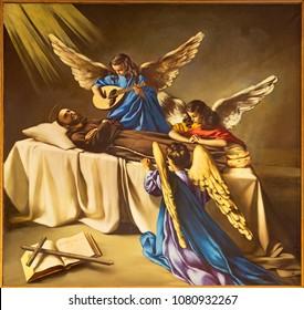REGGIO EMILIA, ITALY - APRIL 12, 2018: The painting of The Death of St. Francis of Assisi in church Chiesa dei Cappuchini by Padre Angelico da Villarotta (1938).