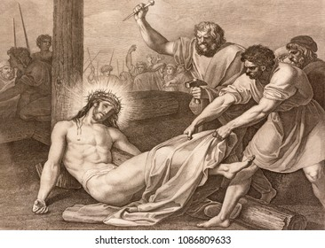 REGGIO EMILIA, ITALY - APRIL 12, 2018: The lithography  Jesus is nailed to the cross (cross way) in church Chiesa di Santo Stefano by Benedetto Eredi (1750 - 1812).