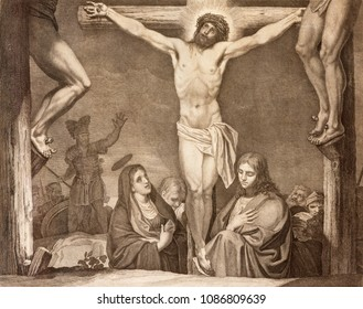 REGGIO EMILIA, ITALY - APRIL 12, 2018: The lithography of Crucifixion (cross way) in church Chiesa di Santo Stefano by Benedetto Eredi (1750 - 1812).