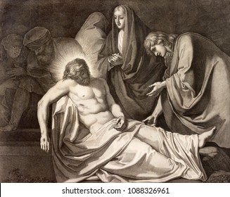 REGGIO EMILIA, ITALY - APRIL 12, 2018: The lithography  Burial of Jesus  (cross way) in church Chiesa di Santo Stefano by Benedetto Eredi (1750 - 1812).