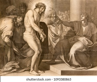 REGGIO EMILIA, ITALY - APRIL 12, 2018: The lithography Jesus judgment for Pilate (cross way) in church Chiesa di Santo Stefano by Benedetto Eredi (1750 - 1812).