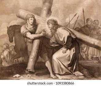 REGGIO EMILIA, ITALY - APRIL 12, 2018: The lithography Jesus is helped by Simon of Cyrene (cross way) in church Chiesa di Santo Stefano by Benedetto Eredi (1750 - 1812).