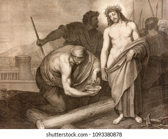REGGIO EMILIA, ITALY - APRIL 12, 2018: The lithography Jesus before the crucifixion in church Chiesa di Santo Stefano by Benedetto Eredi (1750 - 1812).