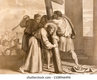 REGGIO EMILIA, ITALY - APRIL 12, 2018: The lithography Jesus carries His cross (cross way) in church Chiesa di Santo Stefano by Benedetto Eredi (1750 - 1812).