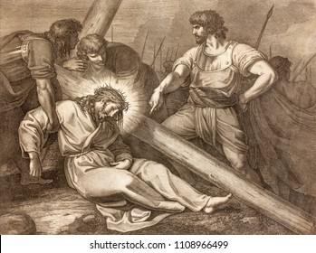 REGGIO EMILIA, ITALY - APRIL 12, 2018: The lithography of Fall of Jesus under the cross (cross way) in church Chiesa di Santo Stefano by Benedetto Eredi (1750 - 1812).