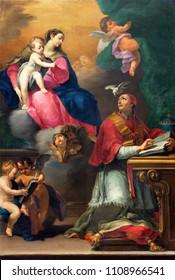 REGGIO EMILIA, ITALY - APRIL 12, 2018: The painting of Madonna with the child and the saint in church Basilica di San Prospero by Camillo Procaccini (1585 - 1587).