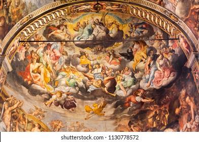REGGIO EMILIA, ITALY - APRIL 12, 2018: The Last Judgment fresco in main apsida of church Basilica di San Prospero by  by Camillo Procaccini (1585 - 1587).