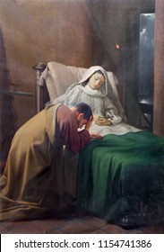 REGGIO EMILIA, ITALY - APRIL 12, 2018: The painting of Death od St. Monica mother of St. Augustine in church Chiesa di San Agostino by Giovanni Ugolini (1918 - 2006).