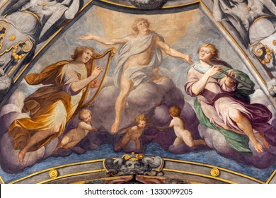 REGGIO EMILIA, ITALY - APRIL 12, 2018: The fresco glory of holy Prospero in church Basilica di San Prospero by  C. Manicardi, G. Ferrari and A. Lugli (1884-1885).