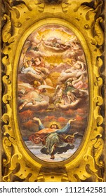 REGGIO EMILIA, ITALY - APRIL 13, 2018: The fresco of Apotheosis of St. John the Evangelist in church Chiesa di San Giovanni Evangelista by Lorenzo Franchi (1613).