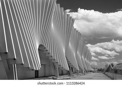 REGGIO EMILIA, ITALY - APRIL 13, 2018:  The Reggio Emilia AV Mediopadana railway station by architect Santiago Calatrava.