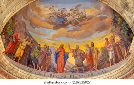 REGGIO EMILIA, ITALY - APRIL 13, 2018: The fresco of Jesus and the apostles in main apse of church Chiesa di San Pietro by Anselmo Govi (1939).