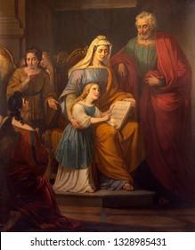REGGIO EMILIA, ITALY - APRIL 14, 2018: The painting of St. Joachim, little Virgin Mary and st. Ann in church chiesa di San Francesco