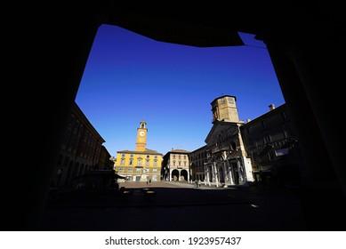 Reggio Emilia, Emilia Romagna, Italy - 02.02.2021: Prampolini square and the Cathedral of Reggio Emilia